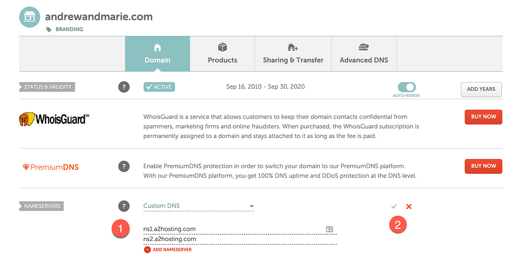 change dns to a2hosting