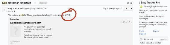 easytrackerpro sale notification in gmail